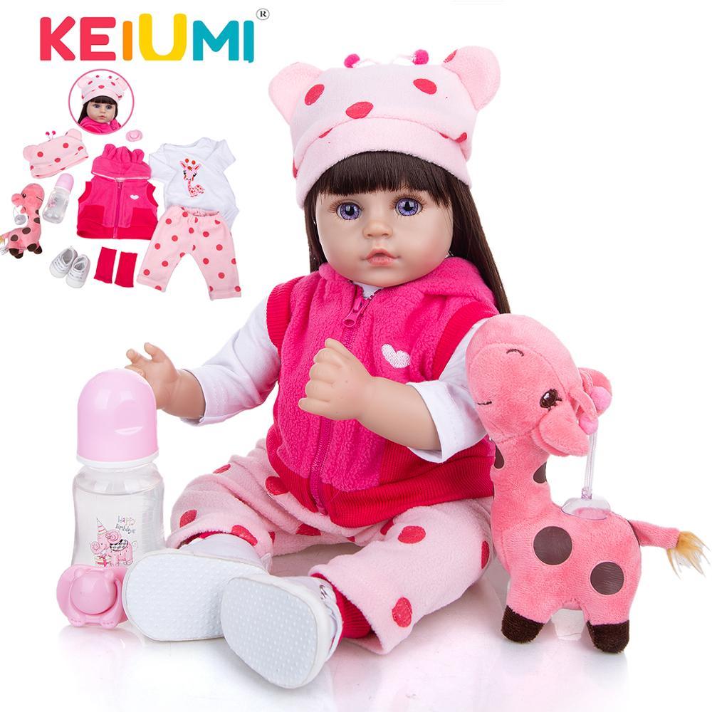 KEIUMI 48 CM Bebe Reborn Cloth Body Beautiful Long Hair Realistic Reborn Toddler Baby Doll For Children Birthday Christmas Gifts
